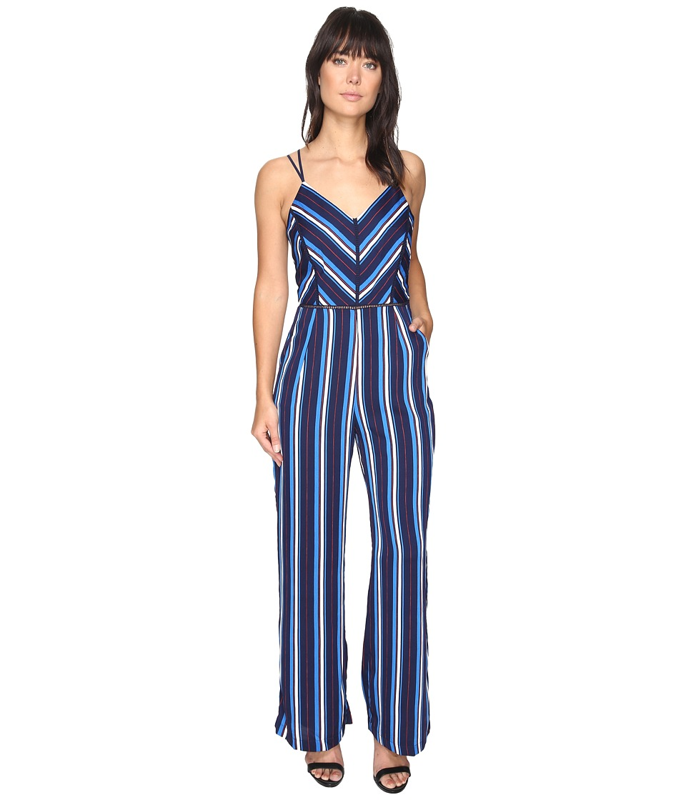 Adelyn Rae - Cynthia Woven Striped Jumpsuit (Blue Multi) Women's Jumpsuit & Rompers One Piece