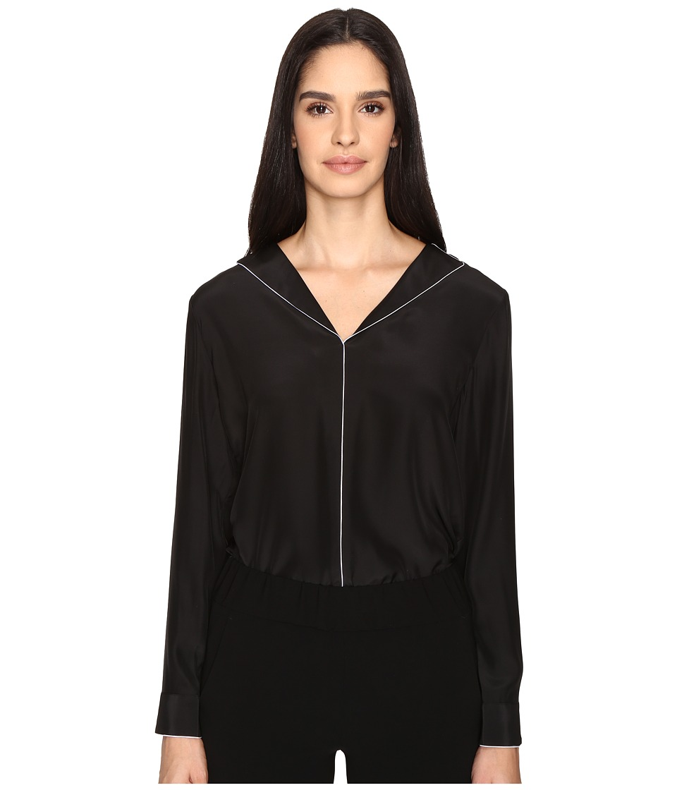 ATM Anthony Thomas Melillo - Collarless Shirt with Piping (Black/White) Women's Clothing