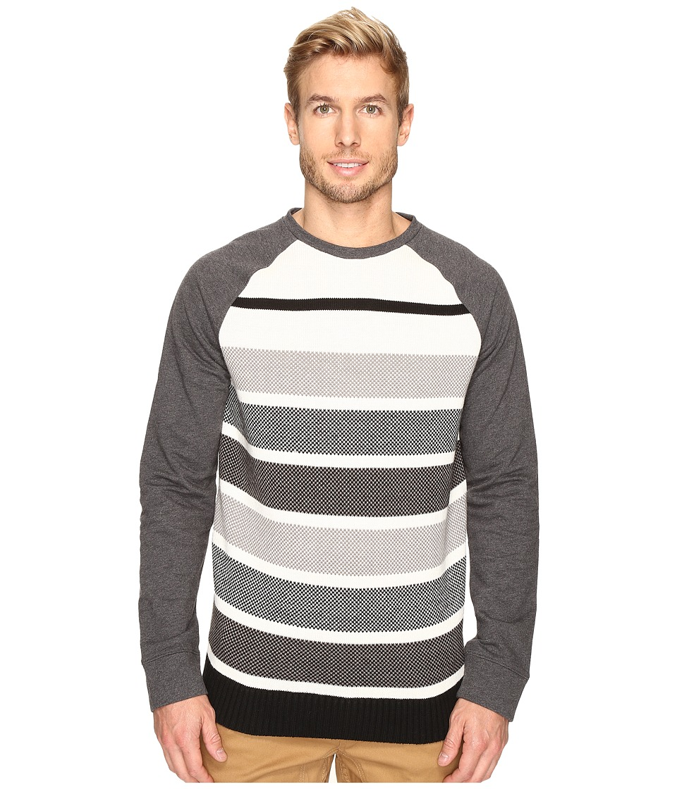Nautica Long Sleeve Sweater Front Crew (Charcoal Heather) Men