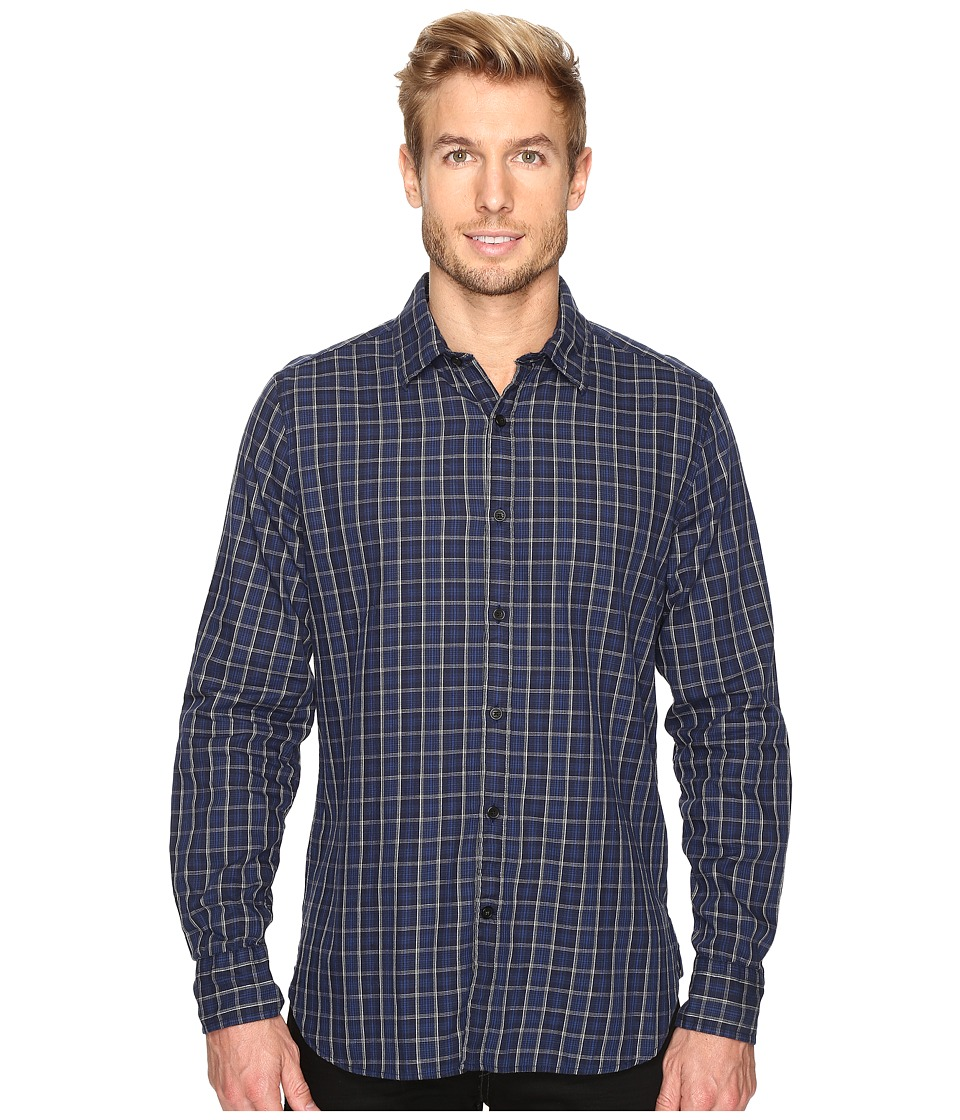 Nautica - Long Sleeve Small Plaid (Navy) Men's Clothing
