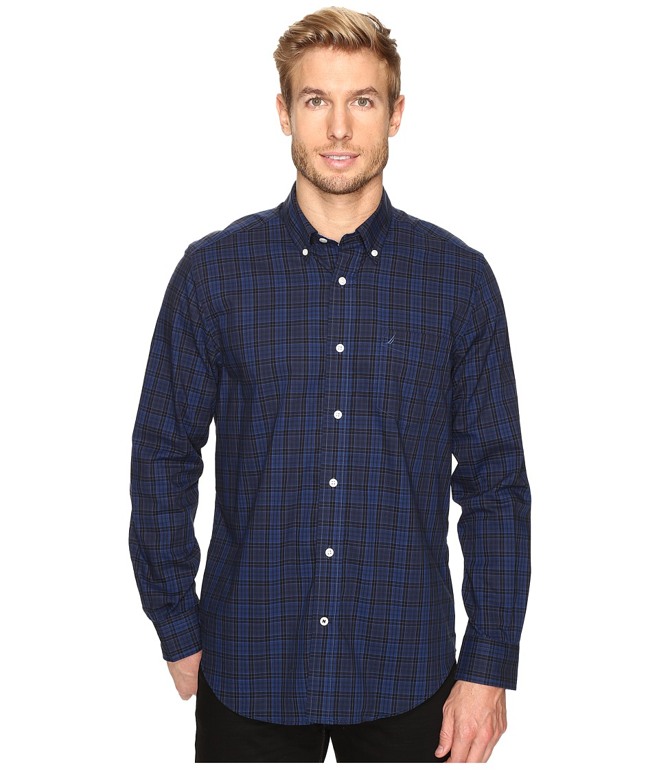 Nautica - Long Sleeve Wrinkle Resistant Small Plaid (Estate Blue) Men's Clothing