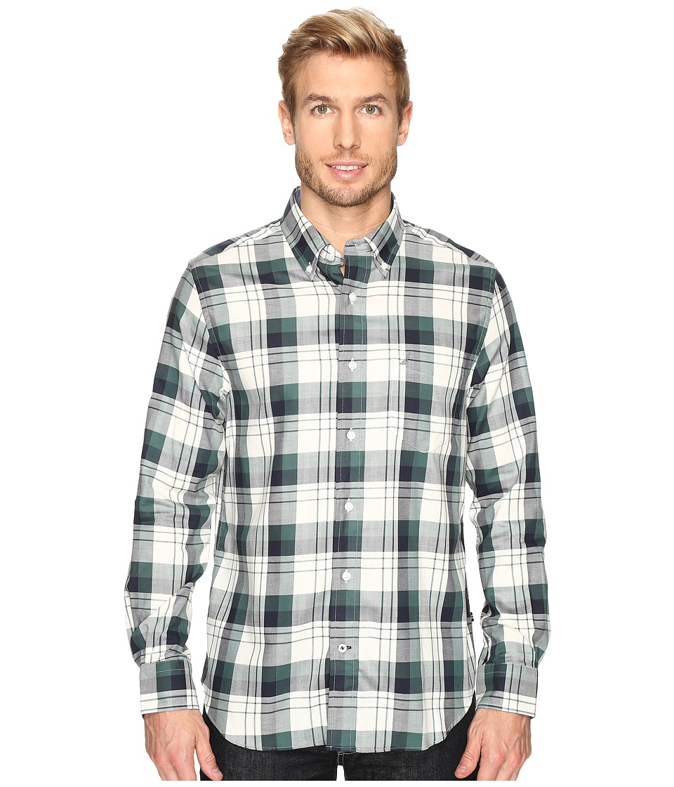 Nautica - Long Sleeve Wrinkle Resistant Large Plaid (Lakeside Green) Men's Clothing