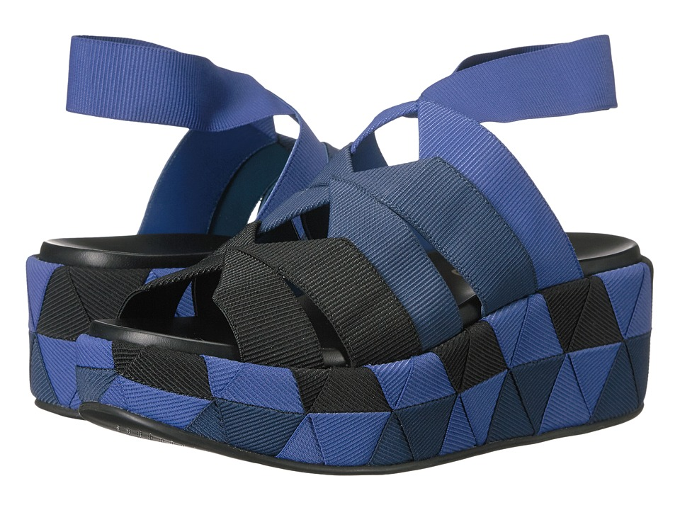 Salvatore Ferragamo - Elastic Platform Sandal (Nero/Pacific/Royal) Women's Sandals