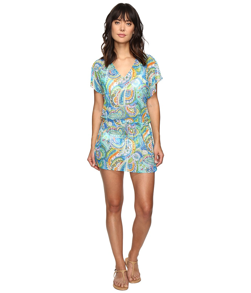 LAUREN Ralph Lauren - Ocean Tie-Dye Poolside Tunic Cover-Up (Blue) Women's Swimwear