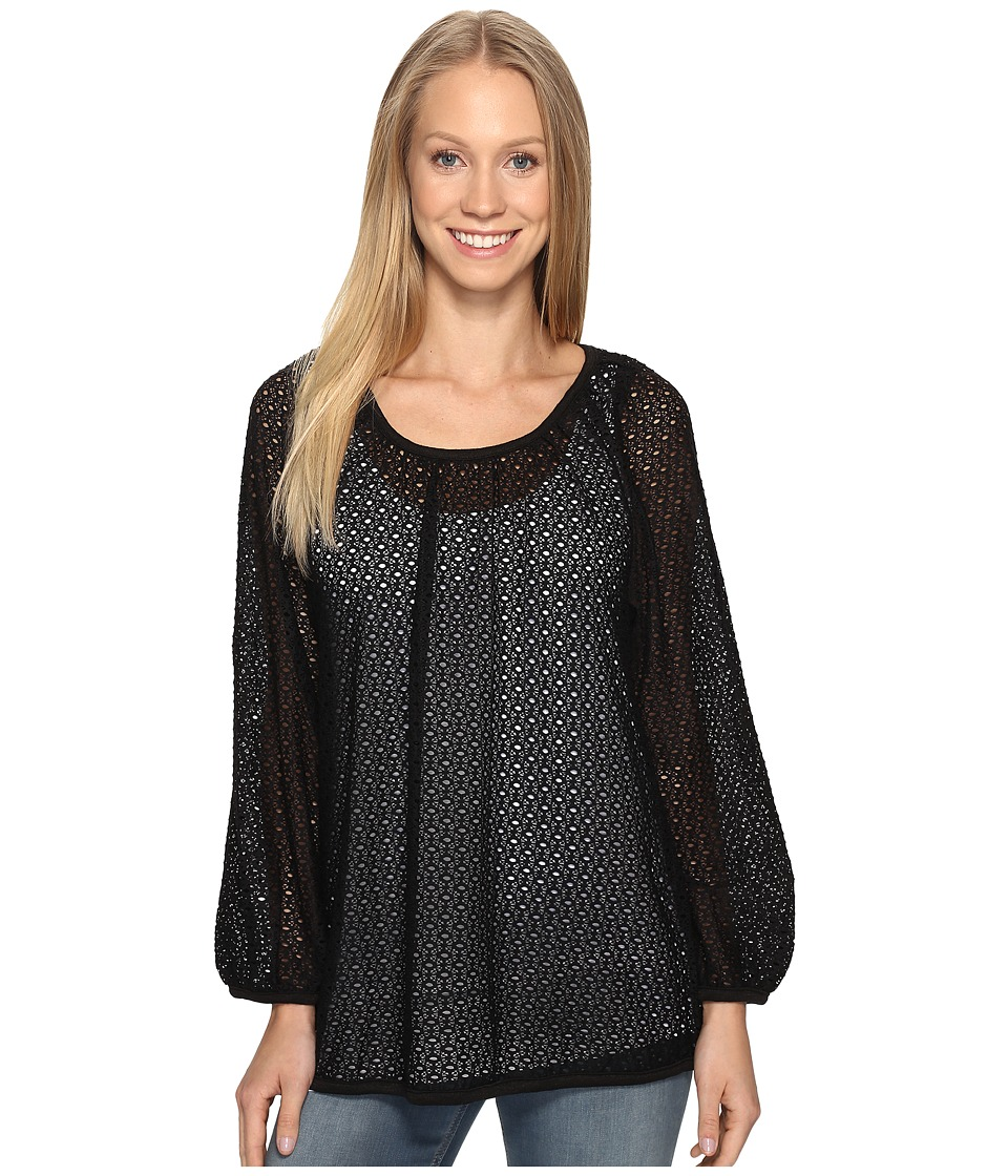Nally & Millie - Eyelet Lace Tunic with Tank Set (Black) Women's Clothing