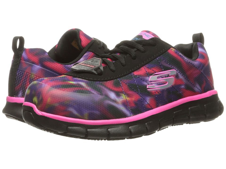 SKECHERS Work - Synergy - Arrey (Black Multi Colored Mesh/KPU Trim) Women's Shoes