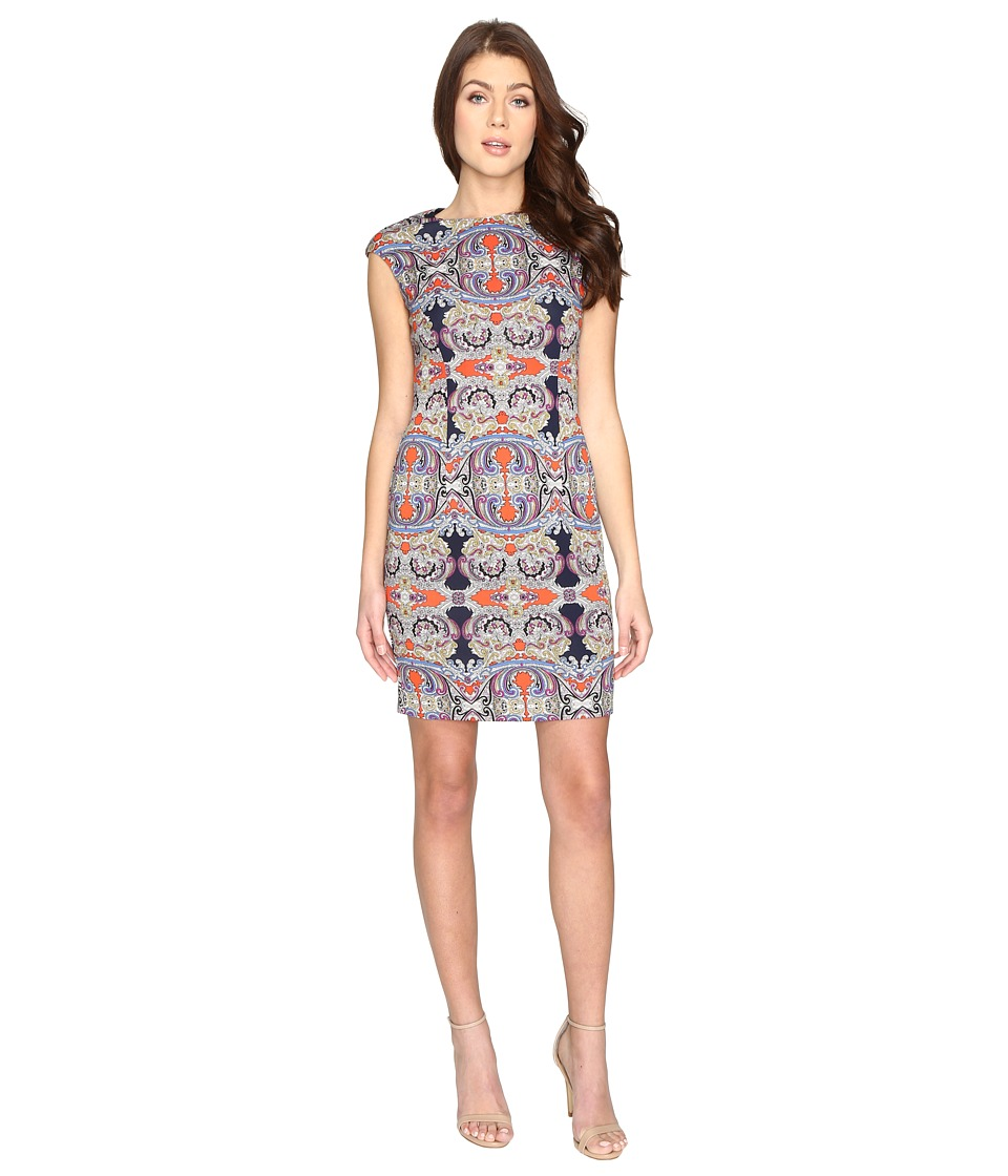 London Times Printed Scuba Extended Cap Sheath Dress (Navy Multi) Women