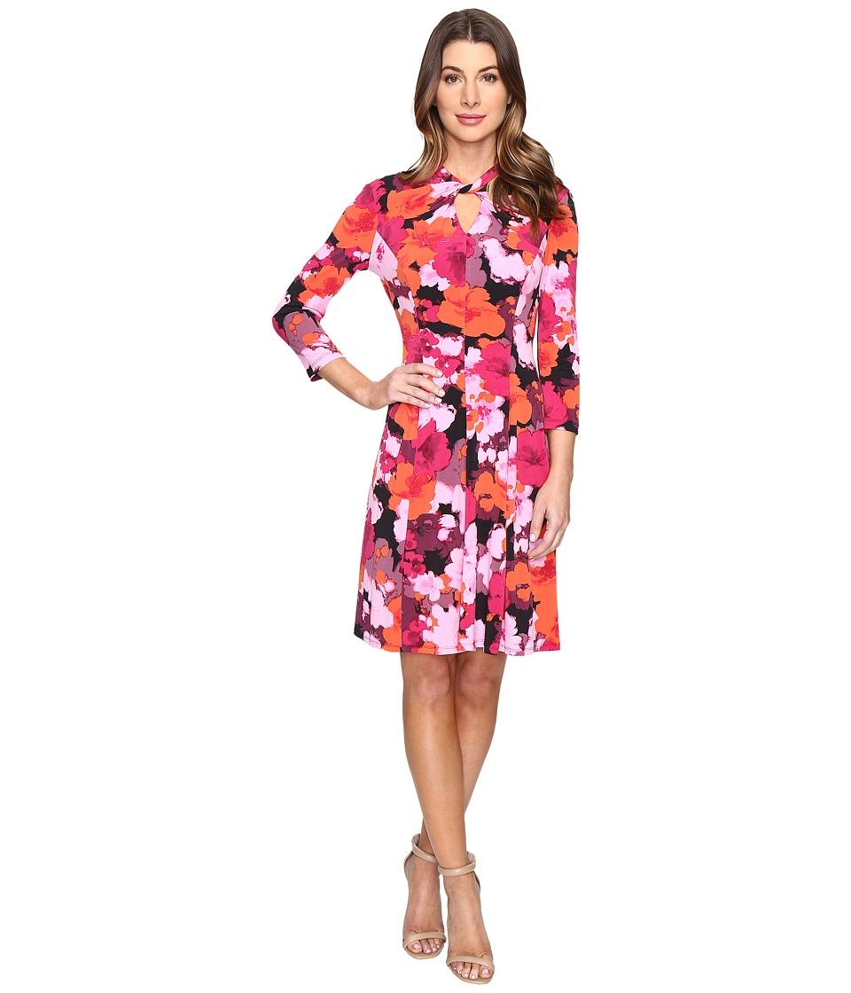 London Times Fleur Blur Twist Neck Fit Flare Dress (Raspberry) Women
