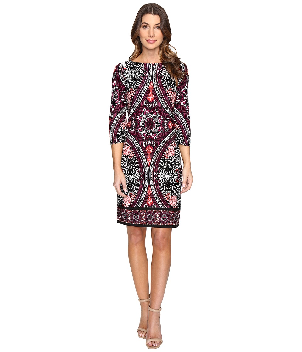 London Times Disc Wheel 3/4 Sleeve Sheath Dress (Black/Plum) Women