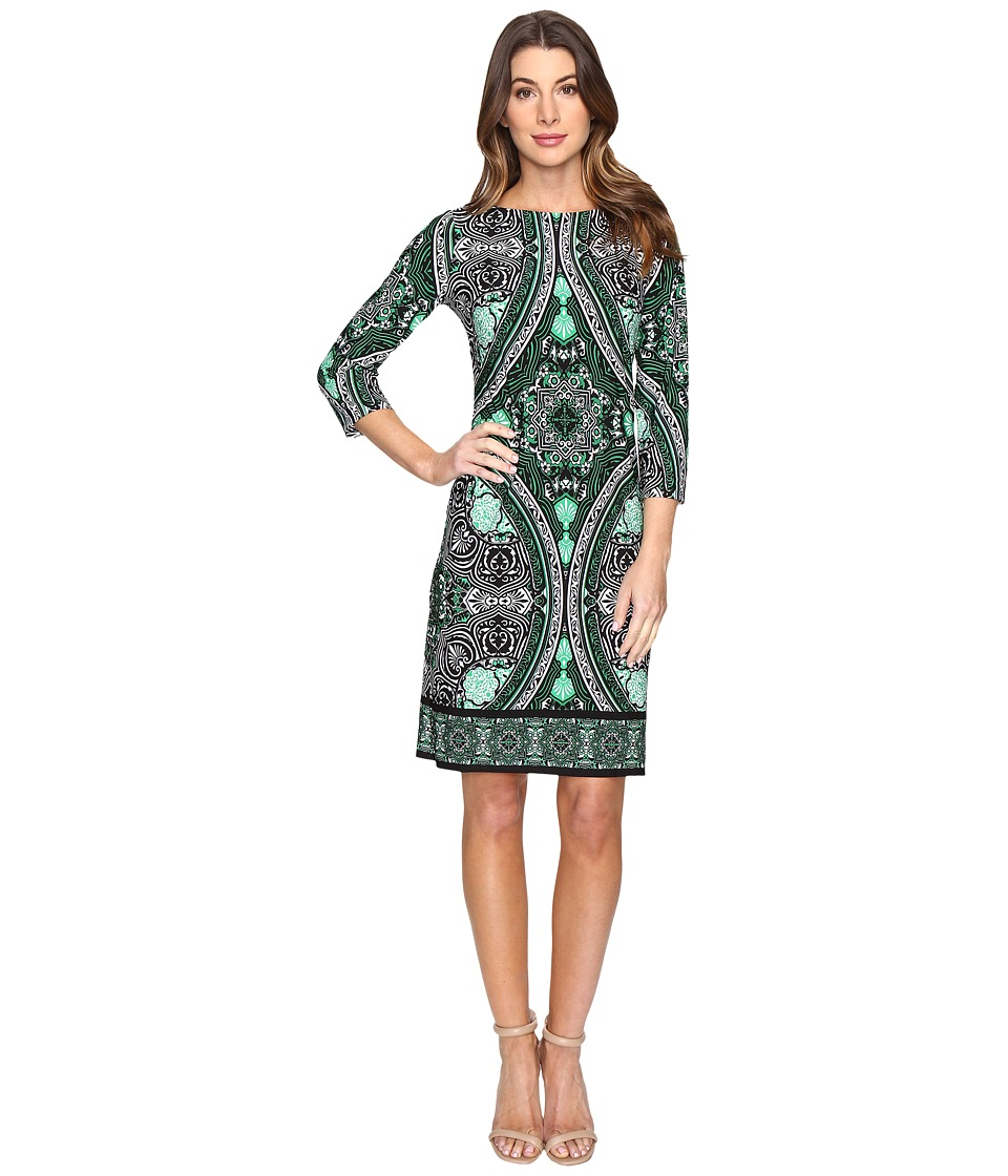 London Times - Disc Wheel 3/4 Sleeve Sheath Dress (Black/Green) Women's Dress