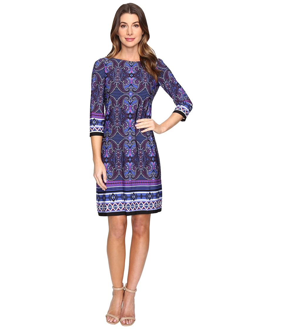 London Times - Scroll Paisley Stripe 3/4 Sleeve Dress (Blue Multi) Women's Dress