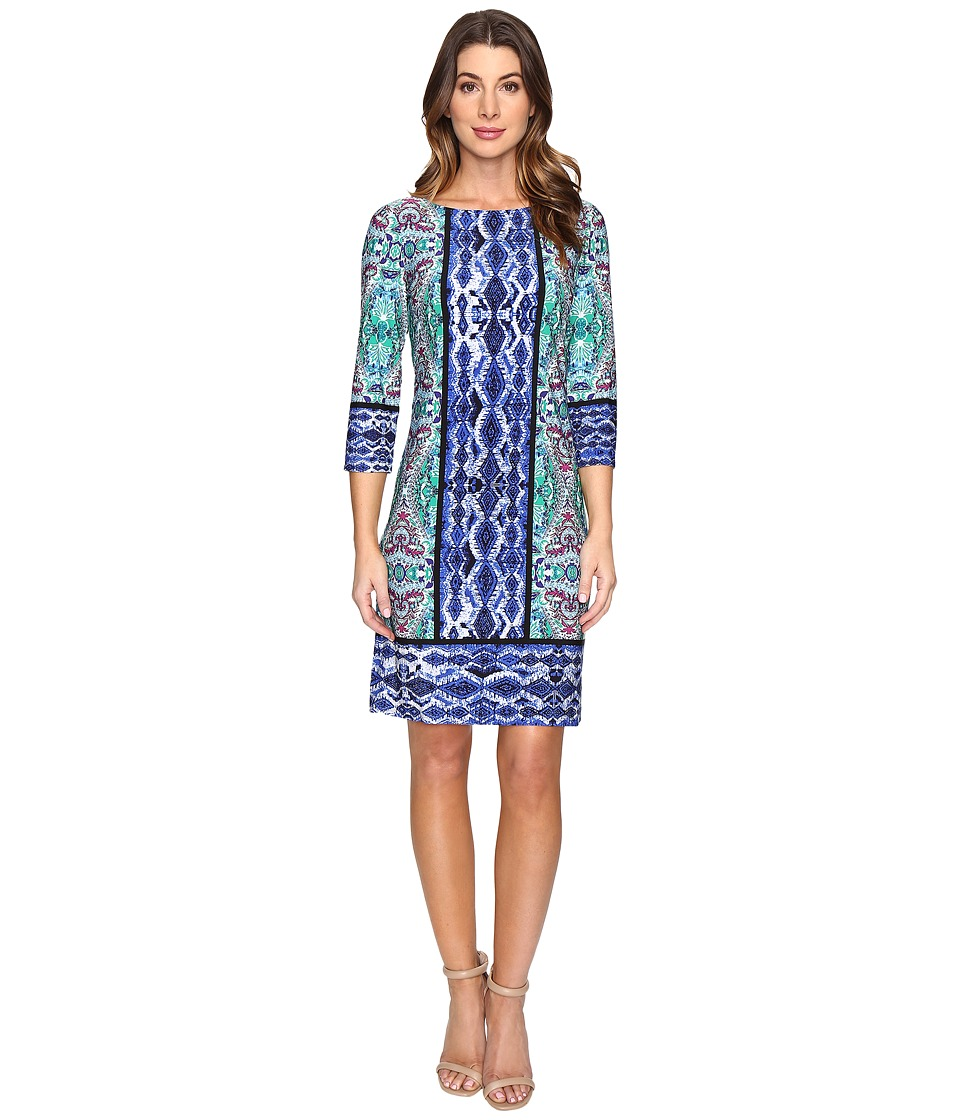 London Times Ikat Medallion 3/4 Sleeve Shift Dress (Blue Multi) Women