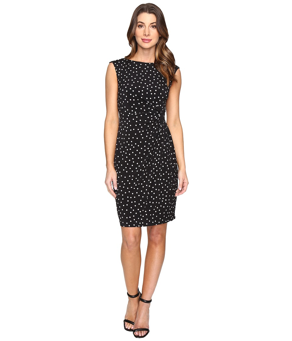 London Times Polka Dot Sheath Dress with Gathers (Black) Women