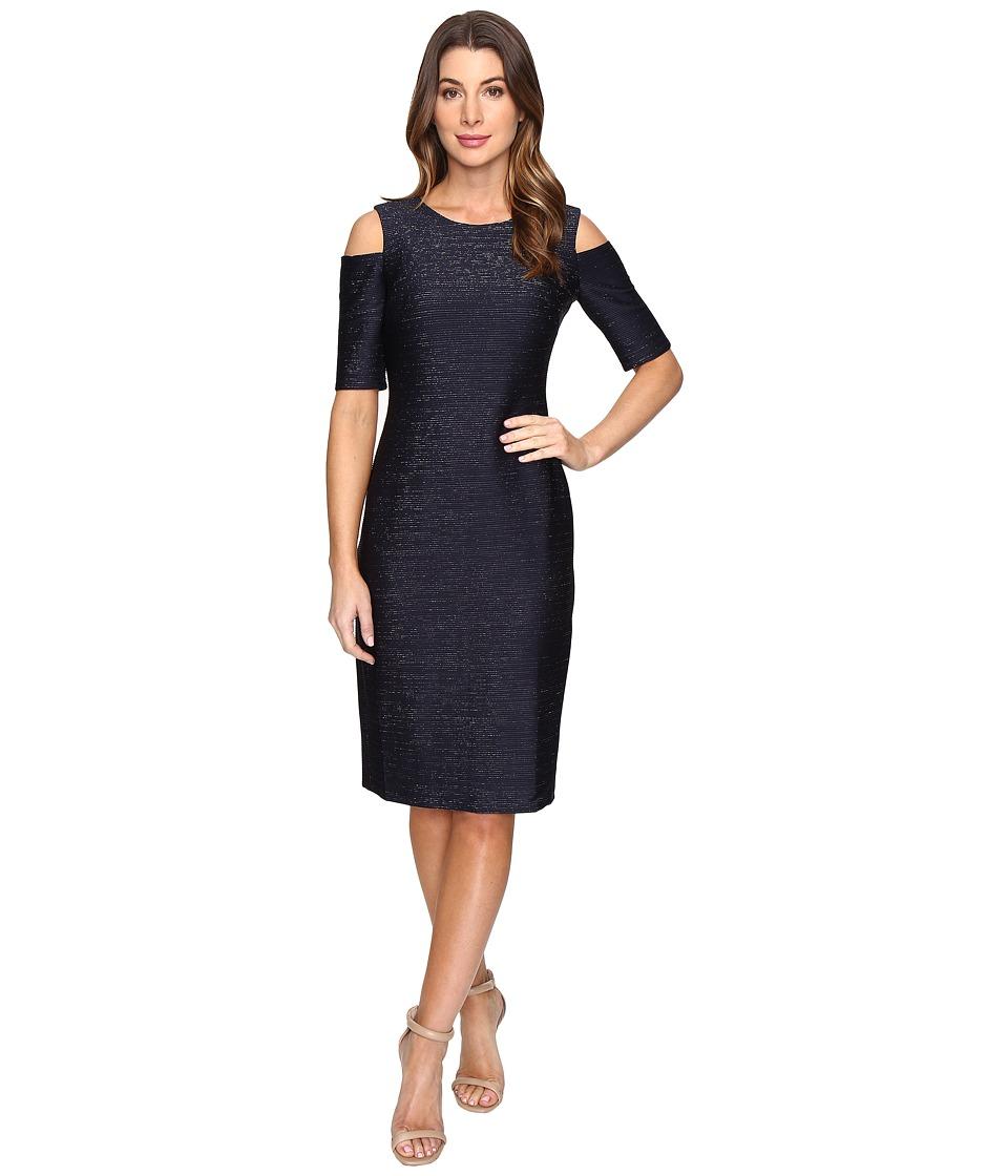 London Times - Metallic Pinktuck Cold Shoulder Dress (Navy/Silver) Women's Dress