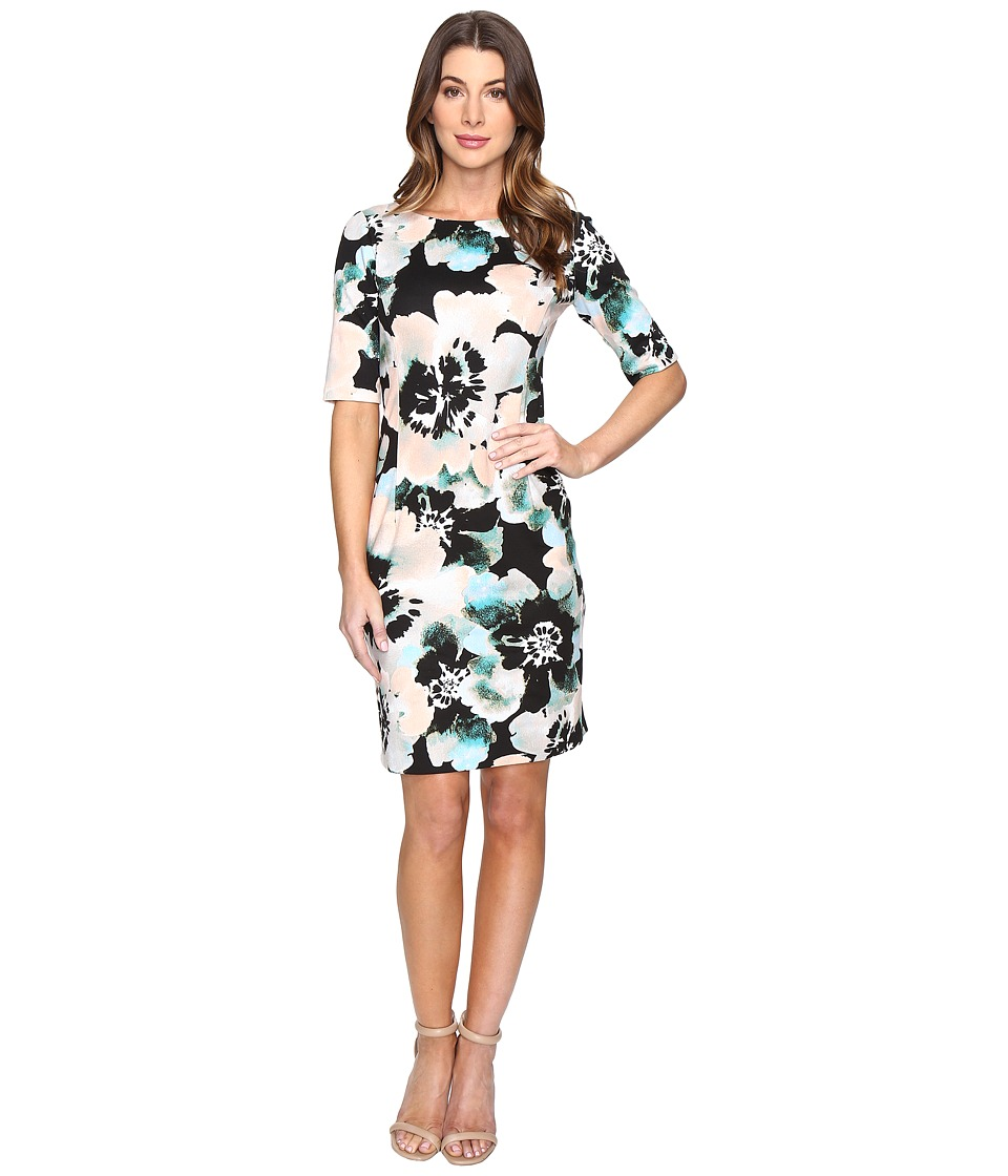 London Times - Floral Print Elbow Sleeve Dress (Pink Multi) Women's Dress