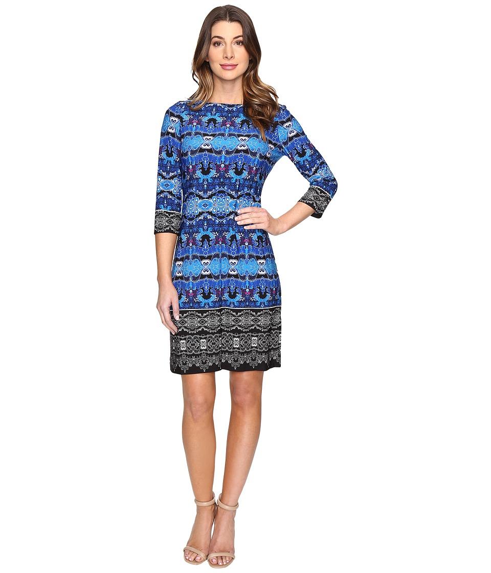 London Times Twin Garland Long Sleeve Shift Dress (Blue Multi) Women