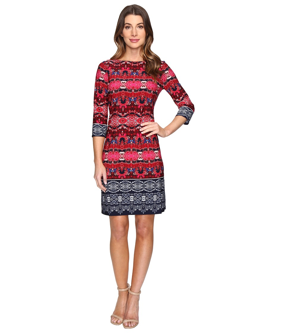 London Times - Twin Garland Long Sleeve Shift Dress (Pink Multi) Women's Dress