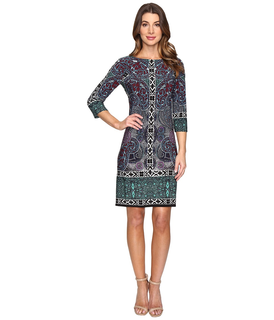London Times - Tulip Paisley Long Sleeve Shift Dress (Multi) Women's Dress