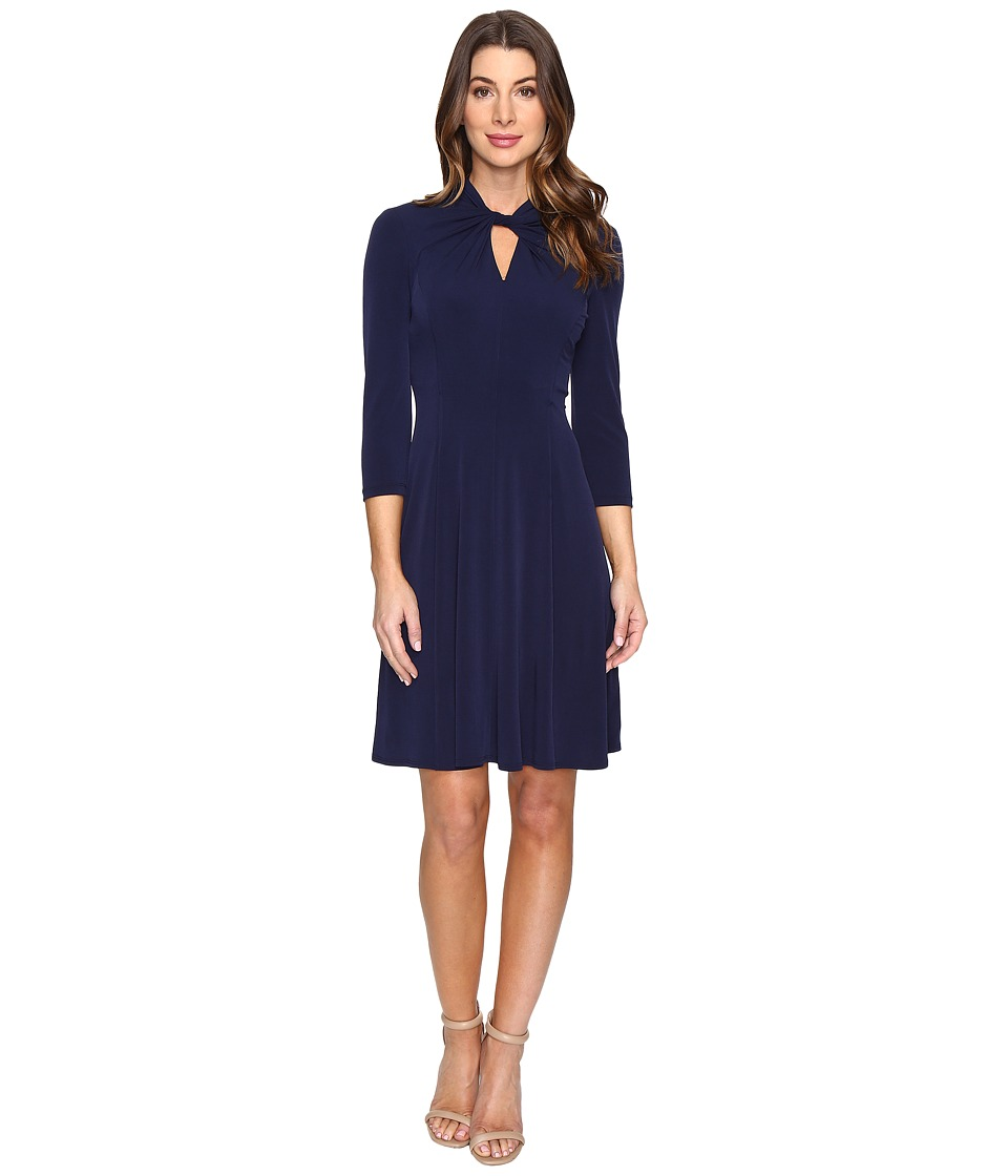 London Times - Twist Neck Fit Flare Dress (Indigo) Women's Dress