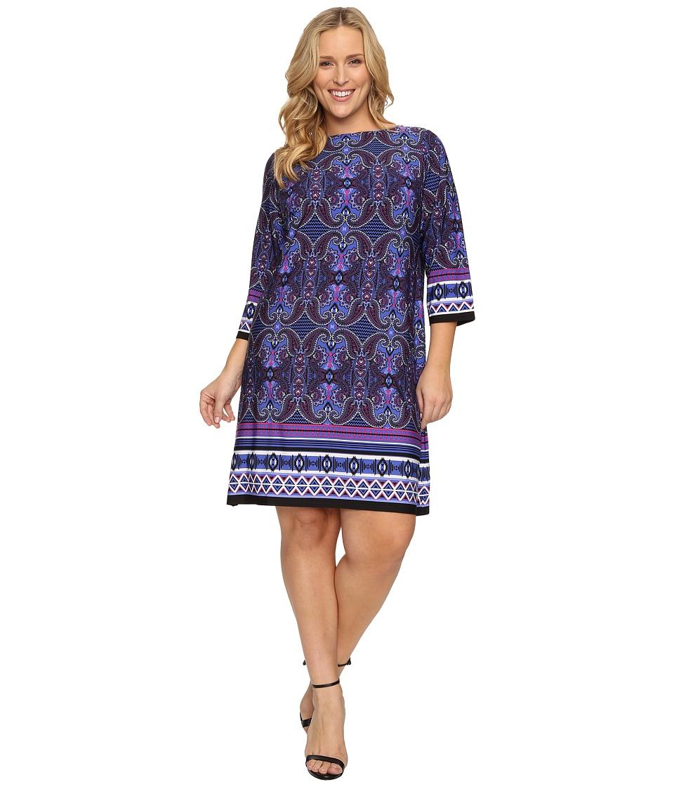 London Times - Plus Size Scroll Paisely Stripe 3/4 Sleeve Dress (Blue Multi) Women's Dress