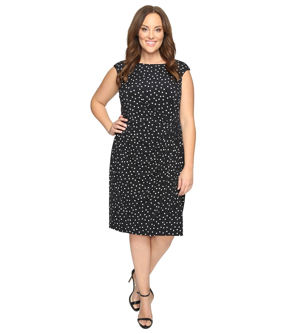 London Times - Plus Size Polka Dot Sheath Dress with Gathers (Black) Women's Dress