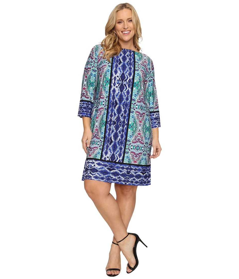 London Times - Plus Size Ikat Medallion 3/4 Sleeve Shift Dress (Blue Multi) Women's Dress