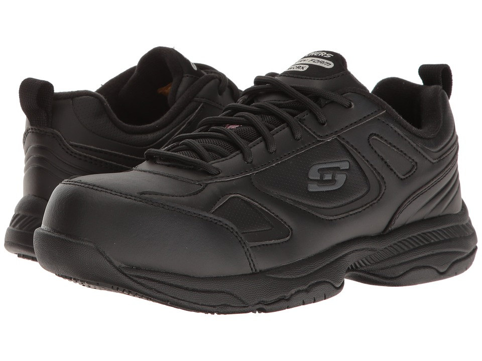 SKECHERS Work - Dighton - Fridley (Black Leather) Women's Shoes