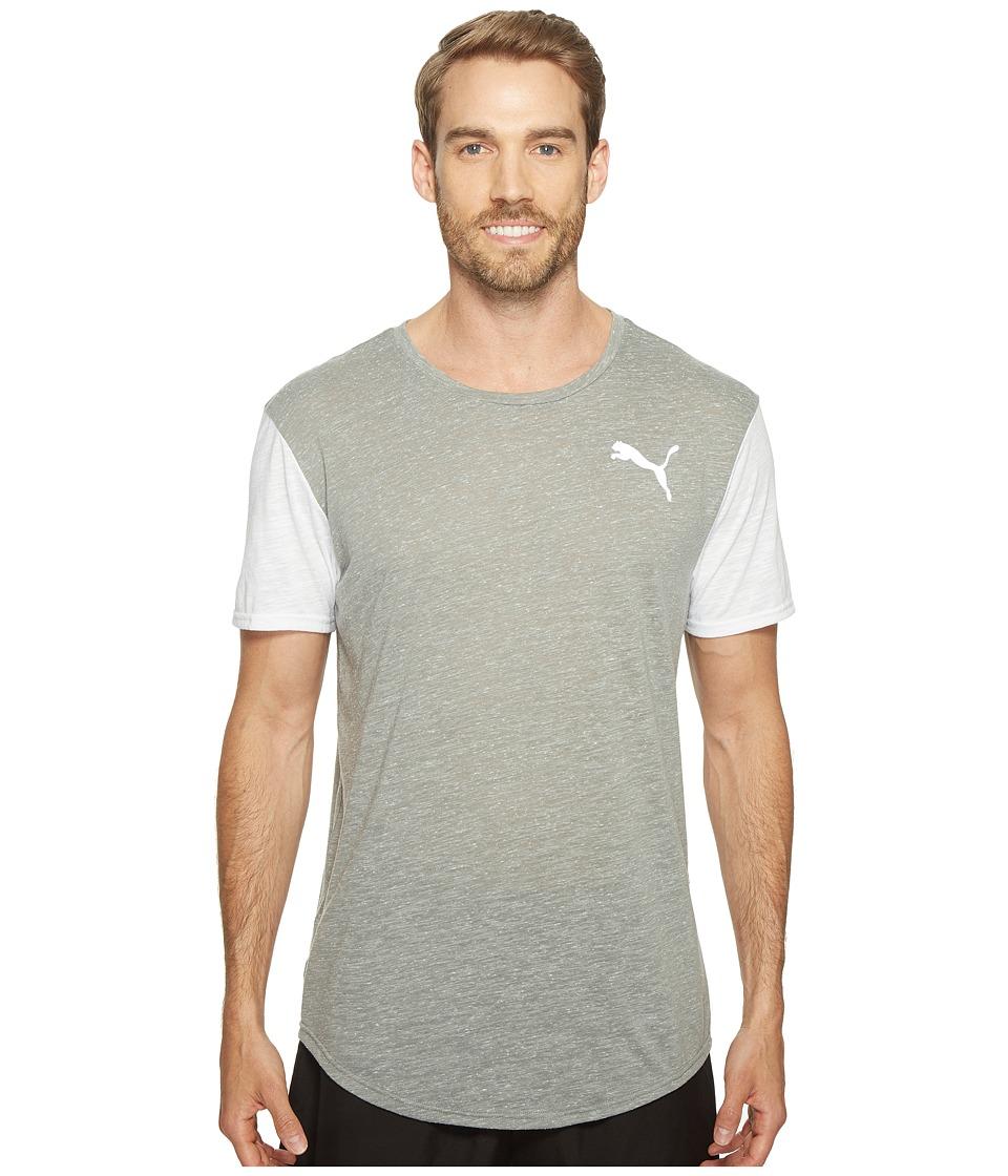 PUMA - Dri-Release Color Block Tee (Medium Gray Heather/Puma White Heather) Men's T Shirt
