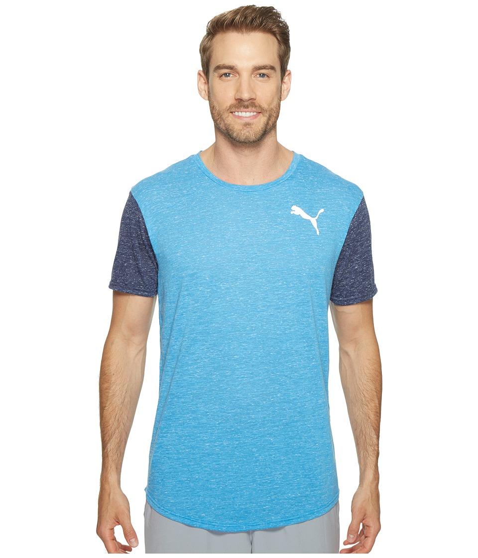 PUMA - Dri-Release Color Block Tee (French Blue Heather/Peacoat Heather) Men's T Shirt