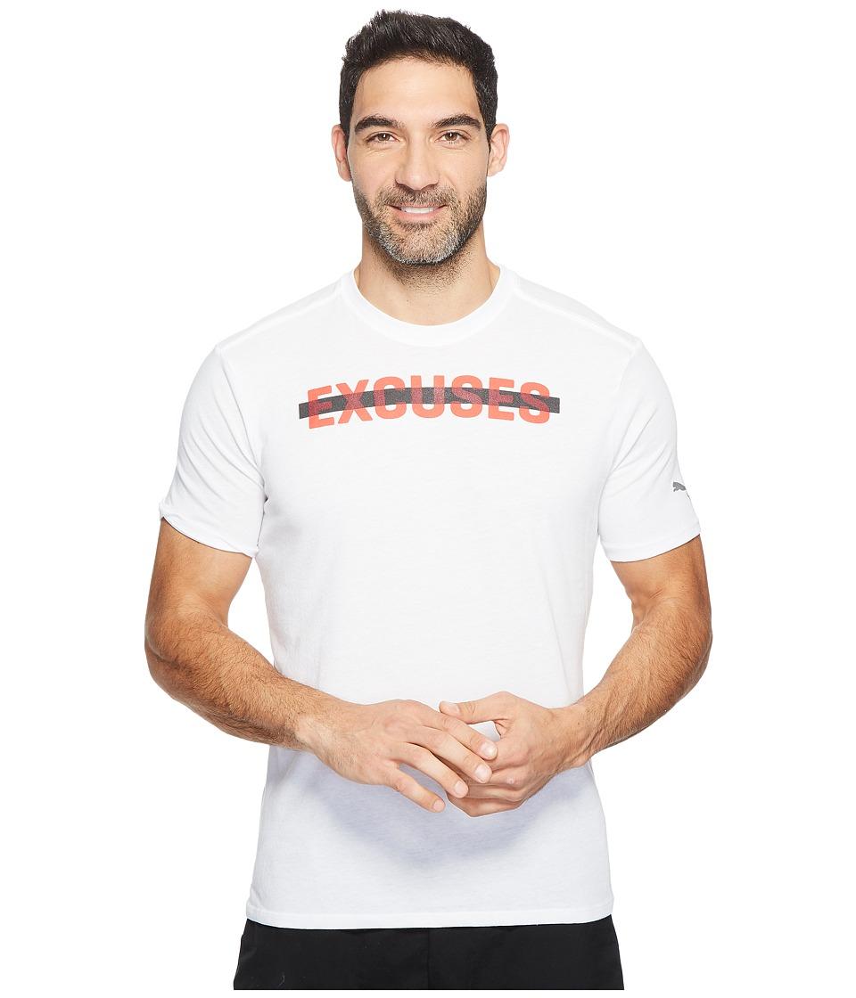 PUMA - No Excuses Tee (PUMA White/PUMA Red) Men's T Shirt