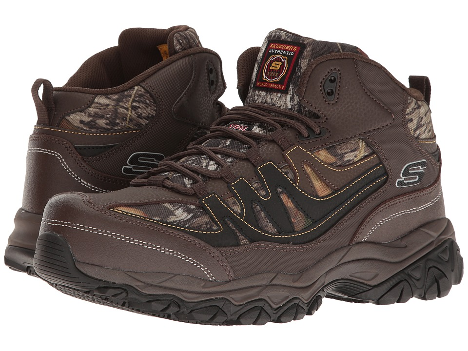 SKECHERS Work - Holdredge - Rebem (Brown Leather/Camoflauge Trim) Men's Shoes