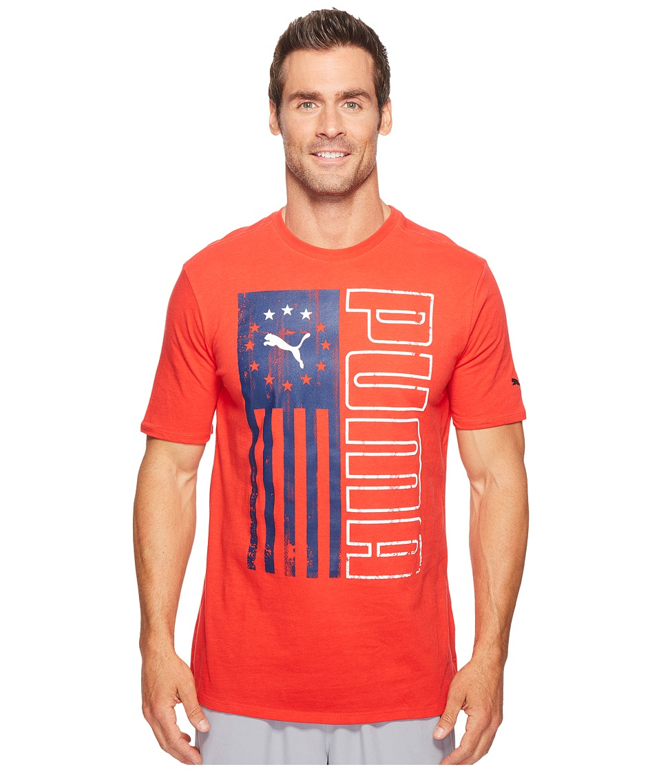 PUMA - Puma Vert Flag Tee (Puma Red) Men's T Shirt