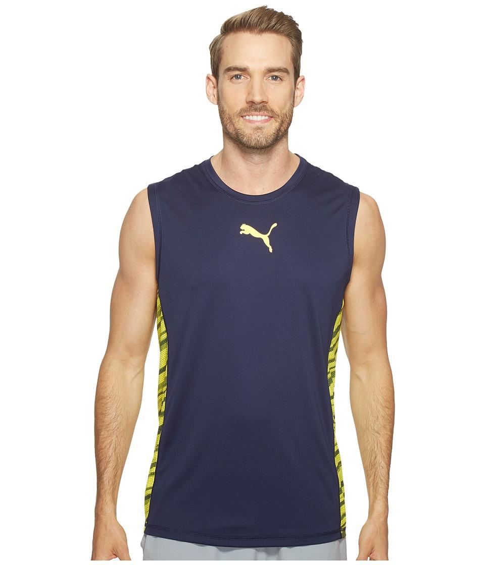 PUMA - Vent Sleeveless Top (Peacoat/Ultra Yellow) Men's Sleeveless