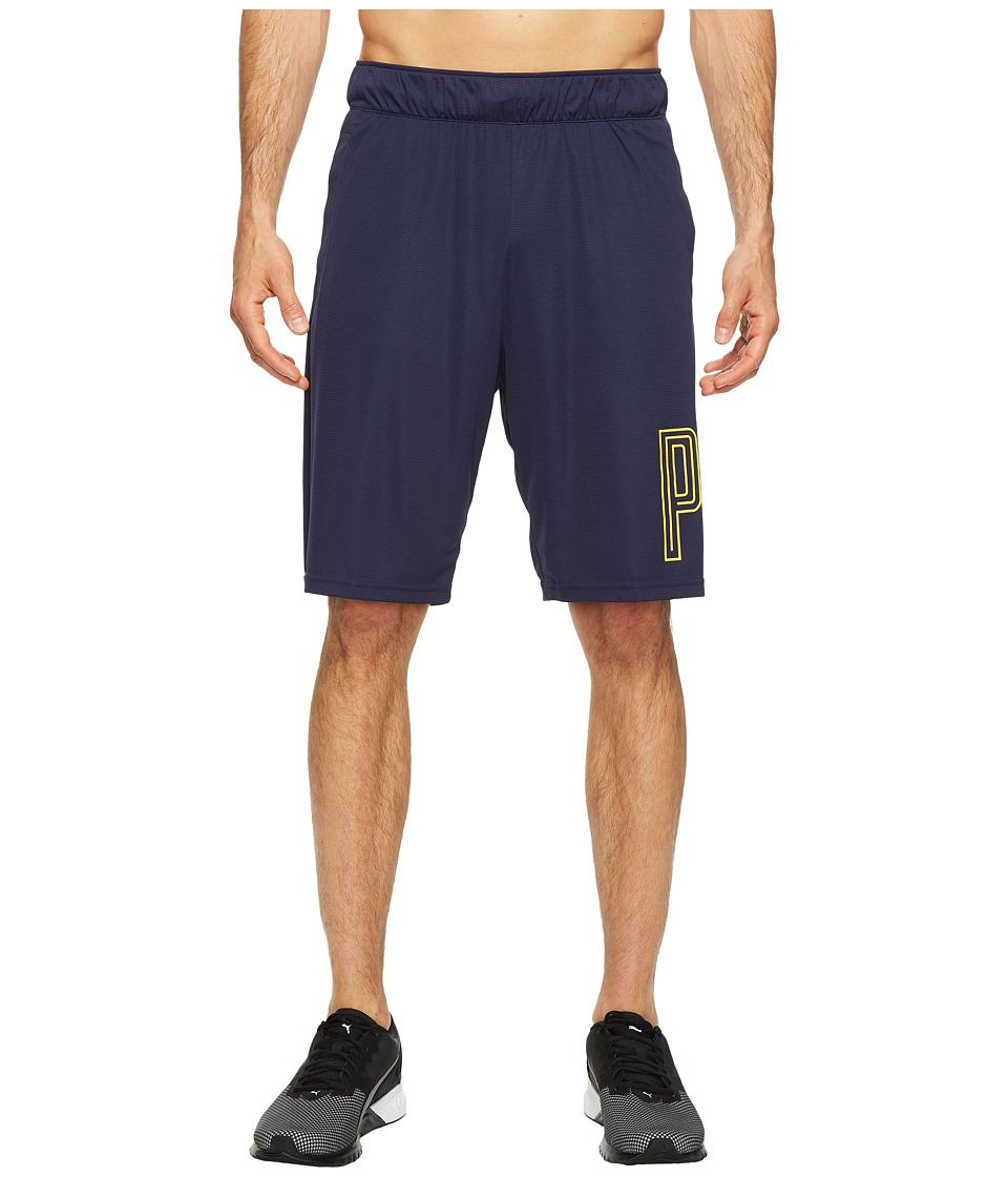 PUMA - Motion Flex 10 Graphic Shorts (Peacoat) Men's Shorts