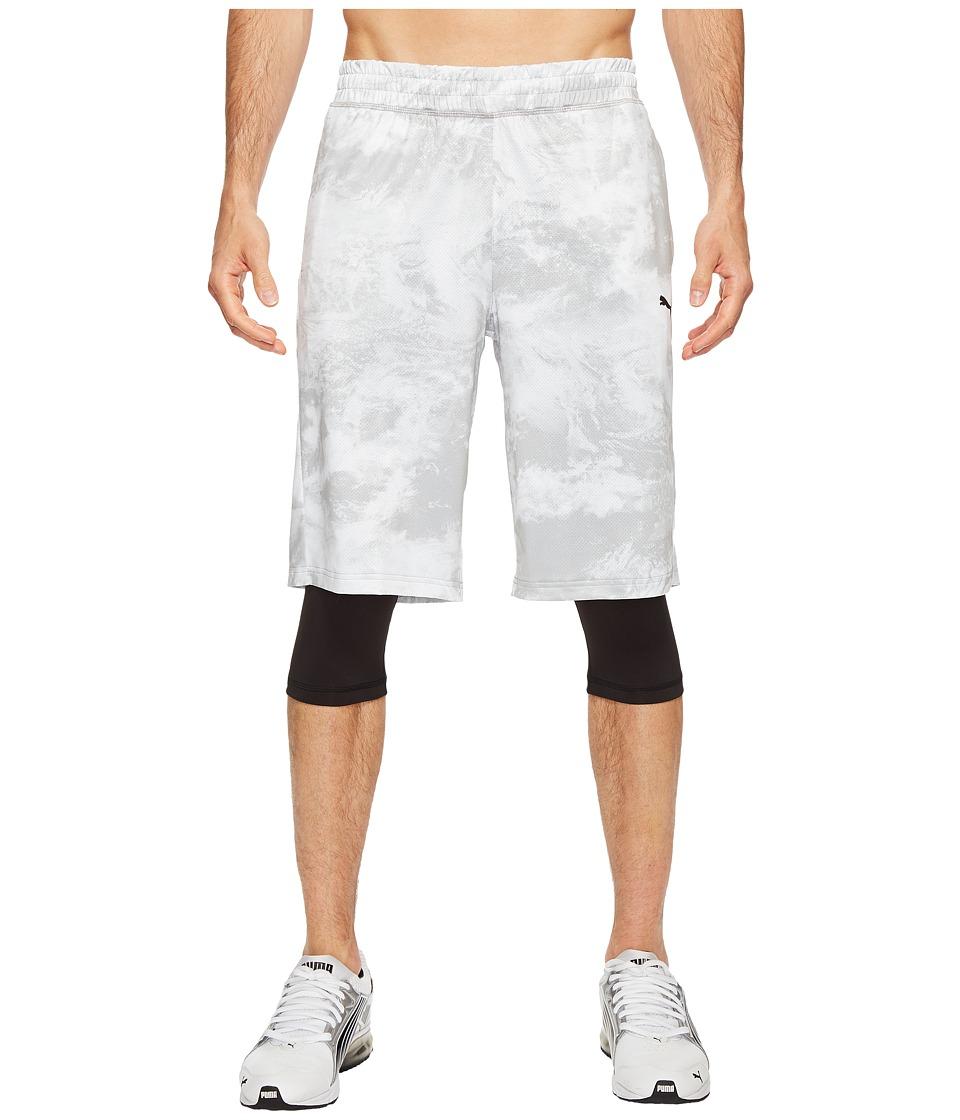 PUMA - Evo Layered Tight Shorts (Puma White AOP) Men's Shorts