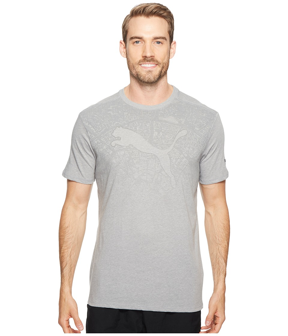 PUMA - Map Fade Tee (Medium Gray Heather/Silver) Men's T Shirt