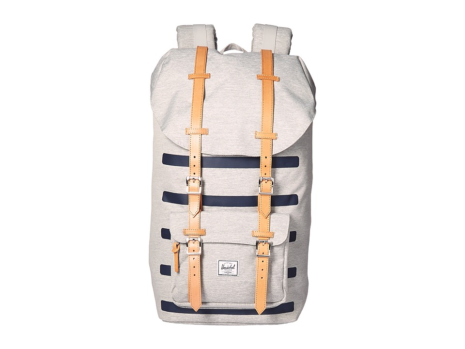 Herschel Supply Co. - Little America (Light Grey Crosshatch Stripe/Veggie Tan Leather) Backpack Bags