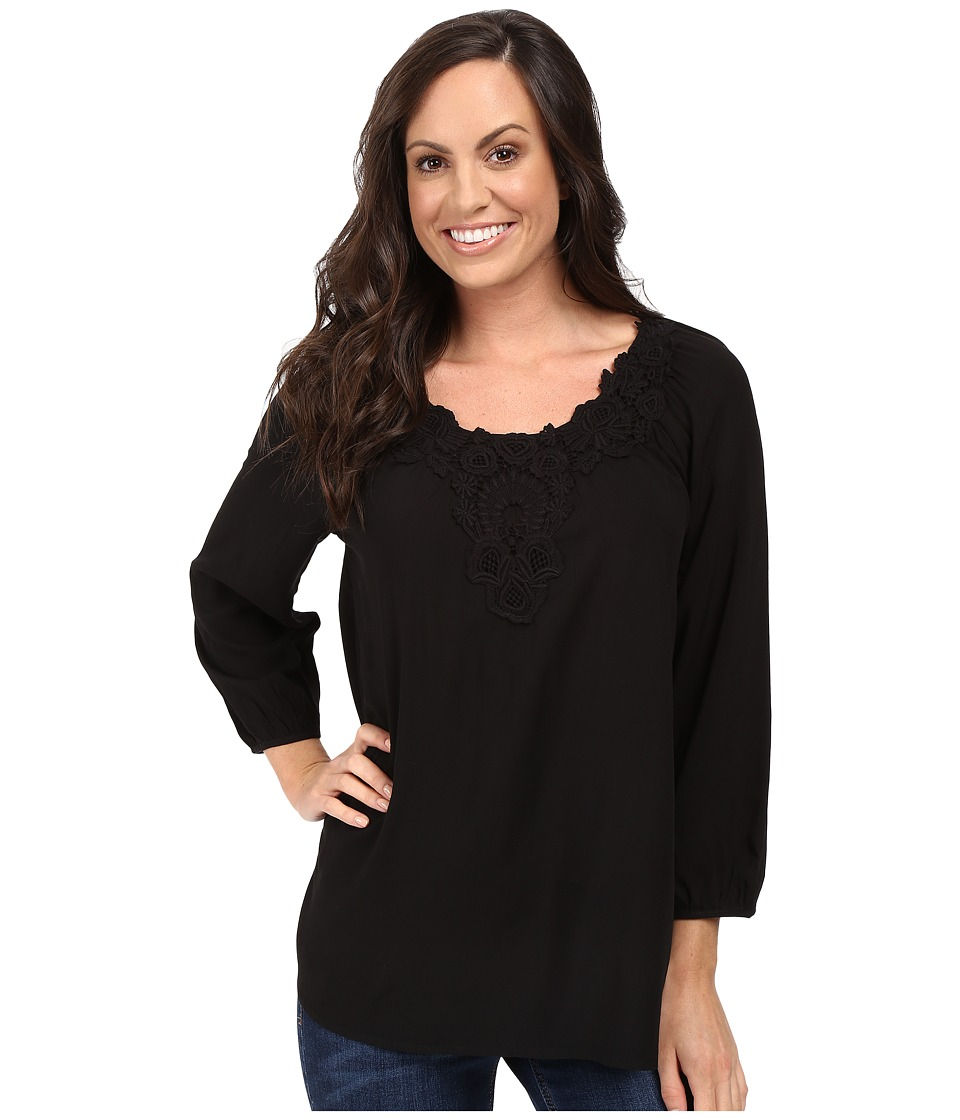 Scully - Honey Creek Nicole Simple Lace Trim Top (Black) Women's Clothing
