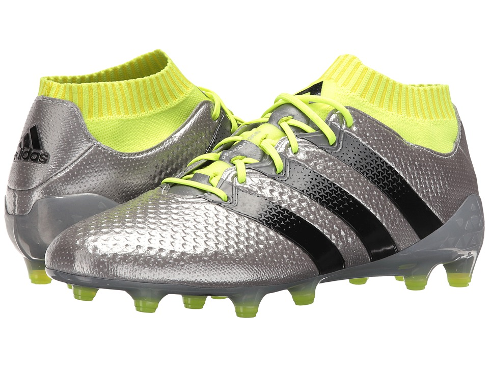 adidas - Ace 16.1 Primeknit Firm Ground (Silver Metallic/Black/Solar Yellow) Men's Shoes