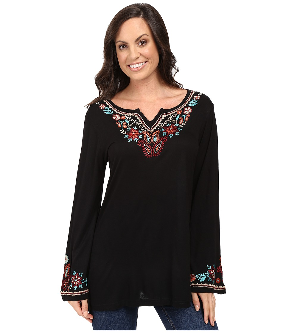 Scully - Honey Creek Cartrina Embroidered Trim Tunic (Black) Women's Blouse