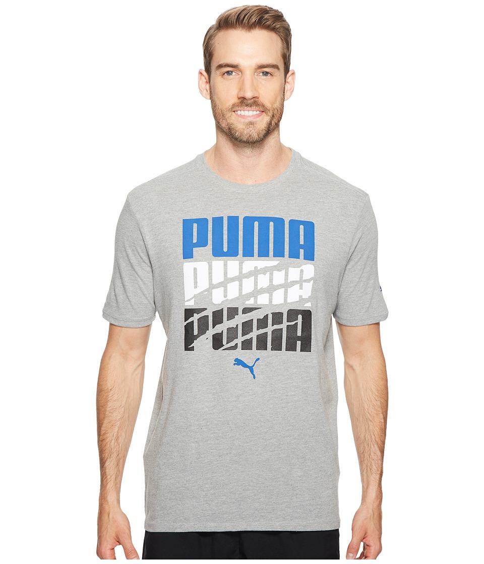 PUMA - Word Slash Tee (Medium Gray Heather/True Blue) Men's T Shirt