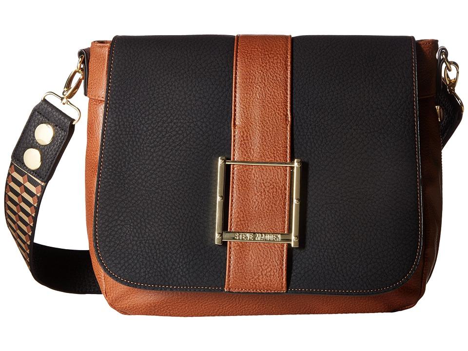 Steve Madden - BCarmen Oversized Messenger (Black/Cognac/Sand) Messenger Bags