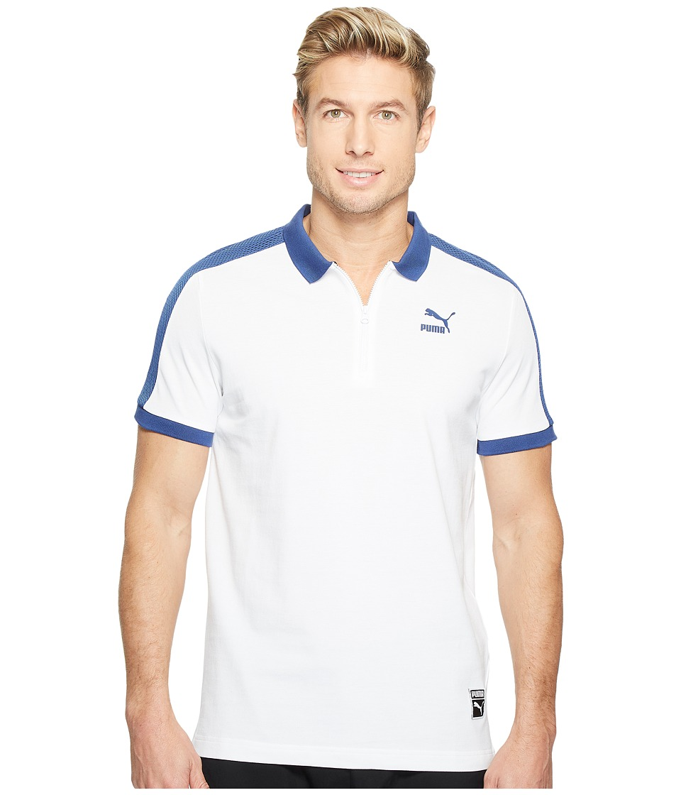 PUMA - Color Block Polo (PUMA White) Men's T Shirt