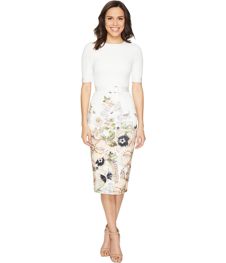 Ted Baker - Layli Gem Garden Bodycon Dress (Ivory) Women's Dress
