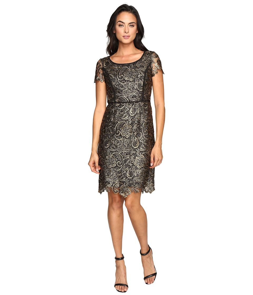 NUE by Shani Metallic Lace Dress (Gold) Women
