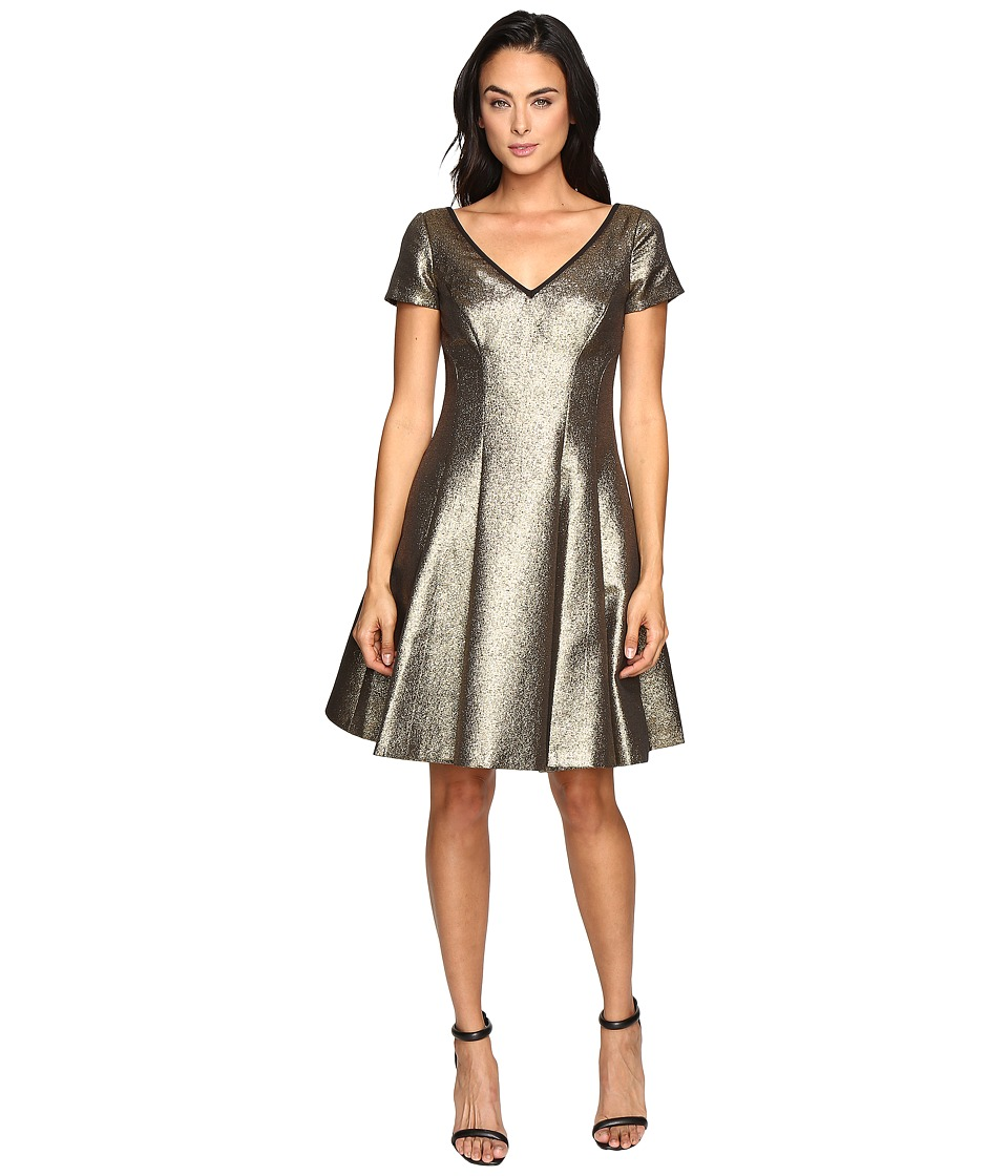 NUE by Shani Fit and Flare Metallic Dress with Sleeves (Gold) Women