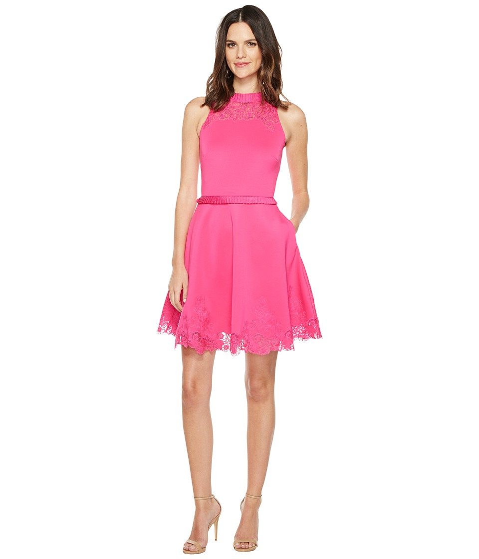 Ted Baker - Zaffron Embroidered Skater Dress (Fuchsia) Women's Dress
