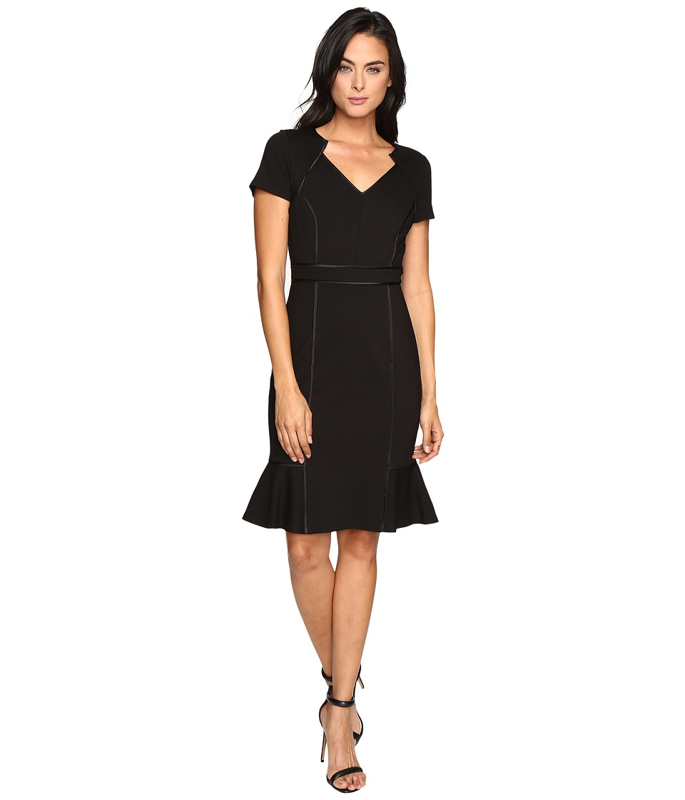 NUE by Shani V-Neck Ponte Knit Dress with Side Flounce (Black) Women