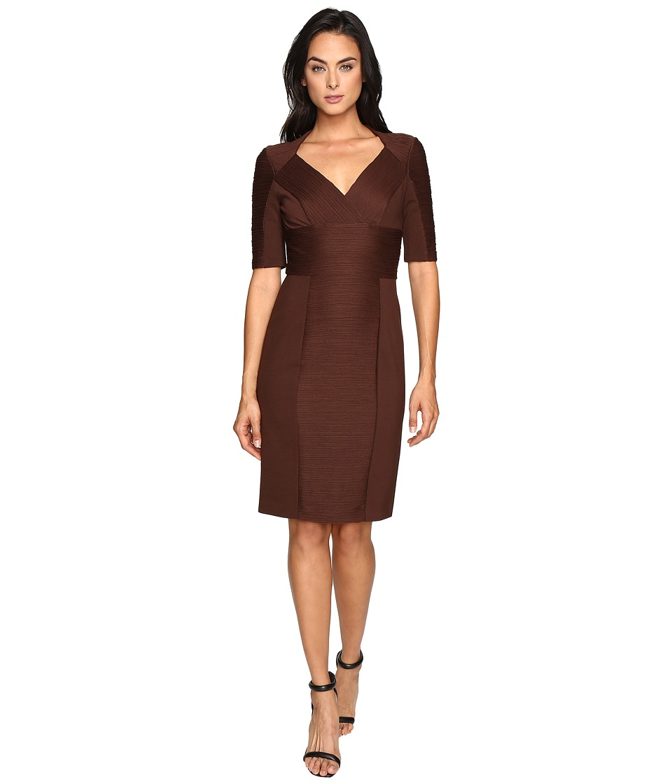 NUE by Shani Cross-Over V-neck Knit Dress (Chocolate) Women