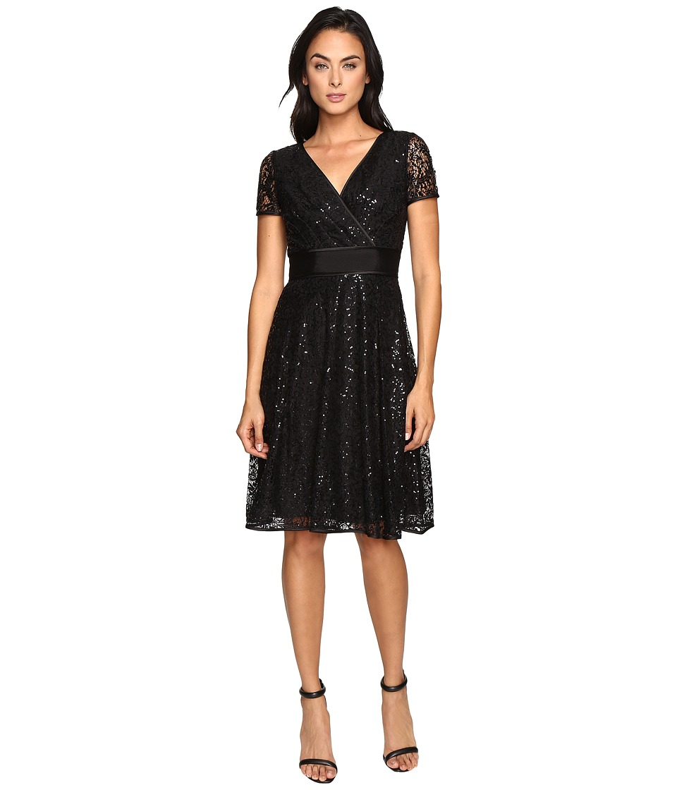 NUE by Shani Fit and Flare Sequin Lace Dress (Black) Women
